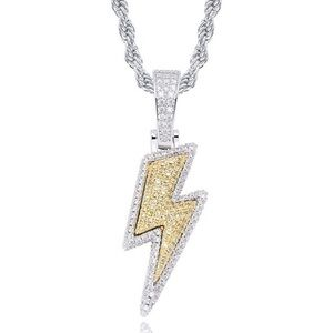 18k Gold Iced Out Lightning Pendant w/ Necklace